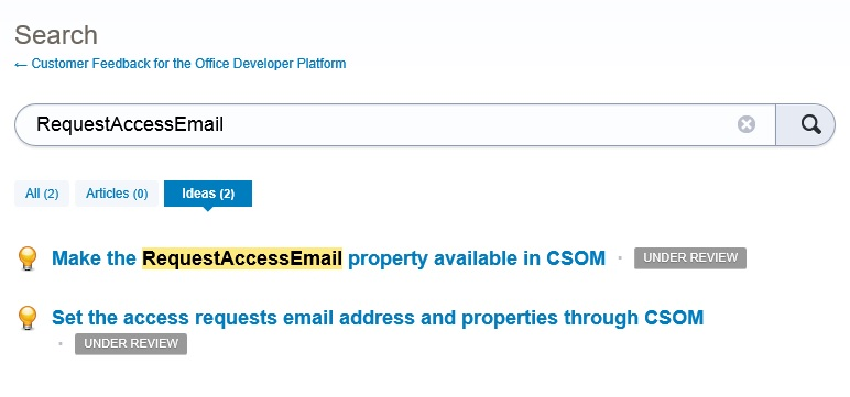 User Voice Request Access Email Search Results